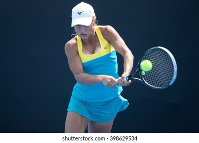 HUA HIN, THAILAND-FEBRUARY 5:Yulia Putintseva of Kazakhstan prepares to return a ball during Day 3 of Fed Cup by BNP Paribas on February 5, 2016 at True Arena Hua Hin in Hua Hin, Thailand