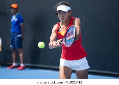 HUA HIN, THAILAND-FEBRUARY 6:Qiang Wang of China returns a ball during Day 4 of Fed Cup by BNP Paribas on February 6, 2016 at True Arena Hua Hin in Hua Hin, Thailand