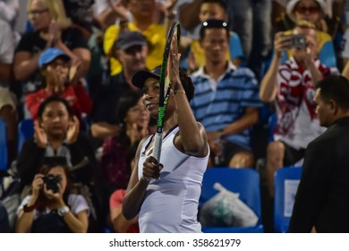 Hua Hin Thailand-Jan1 : World No.7 Tennis player Venus Williams in World Tennis Thailand Championship 2016 Williams had lost to Angelique Kerber 4-6,3-6 on January1,2016 at True Arena Hua Hin,Thailand