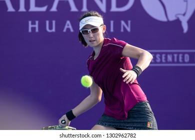 HUA HIN, THAILAND-JANUARY 29:Sai Sai Zheng of China returns a ball during R1 of 2019 Toyota Thailand Open on January 29, 2019 at True Arena Hua Hin in Hua Hin, Thailand