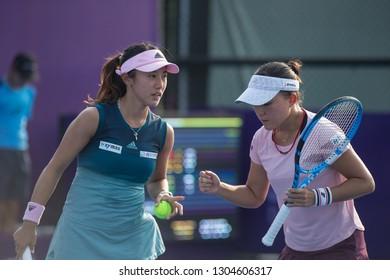 HUA HIN, THAILAND-JANUARY 30:Miyu Kato (L)&Makoto Ninomiya (R) of Japan during Doubles R1 of 2019 Toyota Thailand Open on January 30, 2019 at True Arena Hua Hin in Hua Hin, Thailand