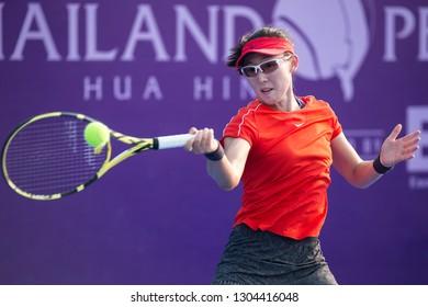 HUA HIN, THAILAND-JANUARY 30:Sai Sai Zheng of China returns a ball during R2 of 2019 Toyota Thailand Open on January 30, 2019 at True Arena Hua Hin in Hua Hin, Thailand