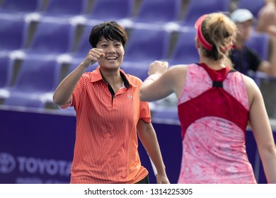 HUA HIN, THAILAND-JANUARY 31:Luksika Kumkhum(L) of Thailand & Cornelia Lister of Sweden(R) during Doubles R2 of 2019 Toyota Thailand Open on January 31, 2019 at True Arena Hua Hin in Hua Hin, Thailand