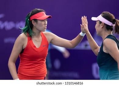 HUA HIN, THAILAND-JANUARY 31:Zhaoxuan Yang(L) & Shuai Peng(R) of China during Doubles R2 of 2019 Toyota Thailand Open on January 31, 2019 at True Arena Hua Hin in Hua Hin, Thailand