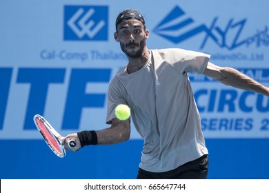 HUA HIN, THAILAND-JUNE 16:Yannick Jankovits of France returns a ball during Day 5 of ITF Thailand Men's Pro Circuit on June 16, 2017 at True Arena Hua Hin in Hua Hin, Thailand