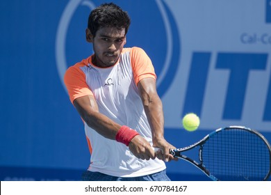 HUA HIN, THAILAND-JUNE 23:Sidharth Rawat of India returns a ball during Day 5 of ITF Thailand Men's Pro Circuit on June 23, 2017 at True Arena Hua Hin in Hua Hin, Thailand