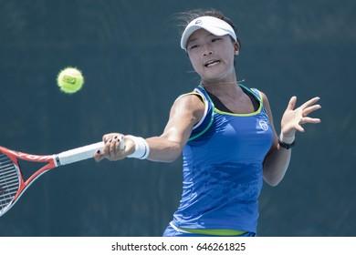 HUA HIN, THAILAND-MAY 3:Sung-Hee Han of Korea returns a ball during Day 3 of ITF Thailand Women's Pro Circuit on May 3, 2017 at True Arena Hua Hin in Hua Hin, Thailand