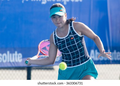 HUA HIN, THAILAND-NOVEMBER 10:Nao Hibino of Japan returns a ball during Day 2 of EA Hua Hin Championship 2015 on November 10, 2015 at Hua Hin Centennial Club in Hua Hin, Thailand