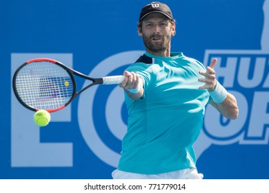 HUA HIN, THAILAND-NOVEMBER 23:Stephane Robert of France returns a ball during day 4 of EA Hua Hin Open Challenger 2017 on November 23, 2017 at True Arena Hua Hin in Hua Hin, Thailand