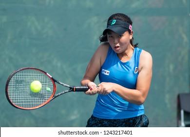 HUA HIN, THAILAND-NOVEMBER 27:Sakura Hosogi returns a ball during Day 2 of ITF Thailand Women's Pro Circuit on NOVEMBER 27, 2018 at True Arena Hua Hin in Hua Hin, Thailand