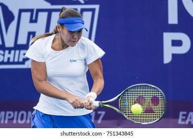HUA HIN, THAILAND-NOVEMBER 7:Sabina Sharipova of Uzbekistan returns a ball during Day 2 of EA Hua Hin Championship 2017 on November 7, 2017 at True Arena Hua Hin in Hua Hin, Thailand