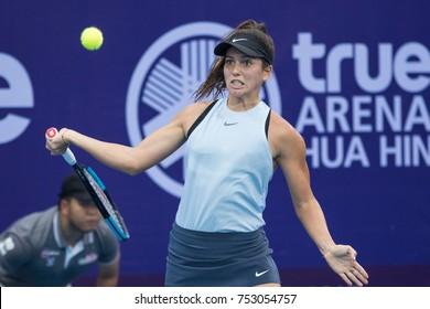HUA HIN, THAILAND-NOVEMBER 8:Ipek Soylu of Turkey returns a ball during Day 3 of EA Hua Hin Championship 2017 on November 8, 2017 at True Arena Hua Hin in Hua Hin, Thailand