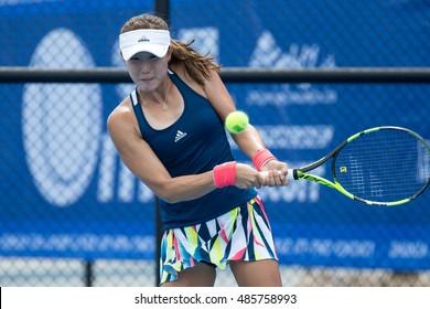 HUA HIN, THAILAND-SEPTEMBER 19:Ji-Hee Choi of Korea returns a ball during Day 1 of ITF Thailand Women's Pro Circuit 1 on September 19, 2016 at True Arena Hua Hin in Hua Hin, Thailand