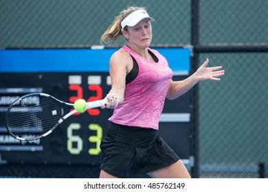 HUA HIN, THAILAND-SEPTEMBER 19:Katarzyna Kawa of Poland returns a ball during Day 1 of ITF Thailand Women's Pro Circuit 1 on September 19, 2016 at True Arena Hua Hin in Hua Hin, Thailand