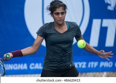 HUA HIN, THAILAND-SEPTEMBER 20:Natasha Palha of India returns a ball during Day 2 of ITF Thailand Women's Pro Circuit 1 on September 20, 2016 at True Arena Hua Hin in Hua Hin, Thailand