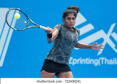 HUA HIN, THAILAND-SEPTEMBER 20:Natasha Palha of India returns a ball during Day 3 of ITF Thailand Women's Pro Circuit on September 20, 2017 at True Arena Hua Hin in Hua Hin, Thailand