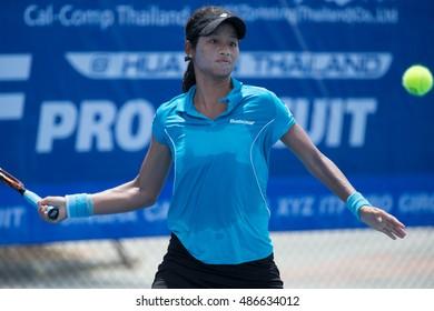 HUA HIN, THAILAND-SEPTEMBER 20:Plobrung Plipuech of Thailand returns a ball during Day 2 of ITF Thailand Women's Pro Circuit 1 on September 20, 2016 at True Arena Hua Hin in Hua Hin, Thailand