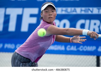 HUA HIN, THAILAND-SEPTEMBER 20:Yuqi Sheng of China returns a ball during Day 2 of ITF Thailand Women's Pro Circuit 1 on September 20, 2016 at True Arena Hua Hin in Hua Hin, Thailand
