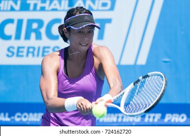 HUA HIN, THAILAND-SEPTEMBER 21:Hua-Chen Lee of Chinese Taipei returns a ball during Day 4 of ITF Thailand Women's Pro Circuit on September 21, 2017 at True Arena Hua Hin in Hua Hin, Thailand