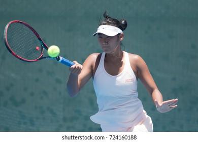 HUA HIN, THAILAND-SEPTEMBER 21:Jia Qi Ren of China returns a ball during Day 4 of ITF Thailand Women's Pro Circuit on September 21, 2017 at True Arena Hua Hin in Hua Hin, Thailand
