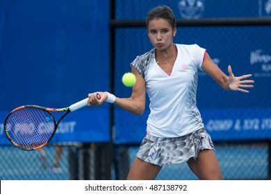 HUA HIN, THAILAND-SEPTEMBER 21:Katharina Lehnert of Philippines returns a ball during Day 3 of ITF Thailand Women's Pro Circuit 1 on September 21, 2016 at True Arena Hua Hin in Hua Hin, Thailand