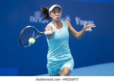 HUA HIN, THAILAND-SEPTEMBER 27:Jia-Jing Lu of China returns a ball during Day 2 of ITF Thailand Women's Pro Circuit 2 on September 27, 2016 at True Arena Hua Hin in Hua Hin, Thailand