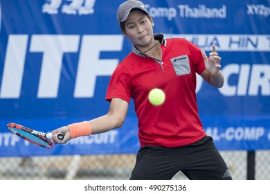 HUA HIN, THAILAND-SEPTEMBER 27:Peangtarn Plipuech of Thailand returns a ball during Day 2 of ITF Thailand Women's Pro Circuit 2 on September 27, 2016 at True Arena Hua Hin in Hua Hin, Thailand
