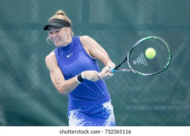 HUA HIN, THAILAND-SEPTEMBER 28:Julia Glushko of Isarel returns ball during Day 4 of ITF Thailand Women's Pro Circuit on September 28, 2017 at True Arena Hua Hin in Hua Hin, Thailand