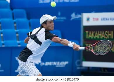 HUA HIN, THAILAND-SEPTEMBER 9:Renta Tokuda of Japan returns a ball during Day 5 of ITF Pro Circuit Thailand Men's F3 on September 9, 2016 at True Arena Hua Hin in Hua Hin, Thailand