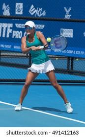 Hua Hin, Thiland 28 September :  Arina RODIONOVA of Australia returns a shot in first round match of ITF Thailand Women's Pro Circuit 2 on 28 September, 2016 at True Arena Hua Hin in Hua Hin, Thailand