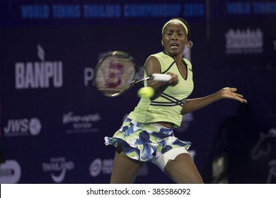 HUA HIN-DEC 31: World No.7 Tennis player Venus Williams of USA in action during a match of WORLD TENNIS THAILAND CHAMPIONSHIP 2016 at True Arena Hua Hin on December 31, 2015 in Hua Hin, Thailand.