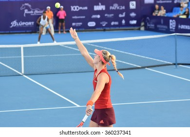 HUA HIN-JAN 1:Angelique Kerber of Germany in action during a match of WORLD TENNIS THAILAND CHAMPIONSHIP 2016 at Hua Hin Centennial Club on January 1, 2016 in Hua Hin, Thailand