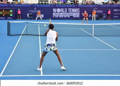 HUA HIN-JAN 1:Venus Williams of United States in action during a match of WORLD TENNIS THAILAND CHAMPIONSHIP 2016 at Hua Hin Centennial Club on January 1, 2016 in Hua Hin, Thailand