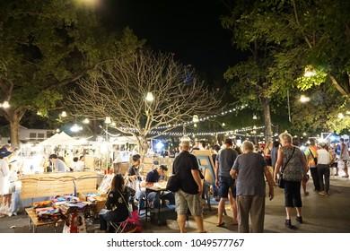 HUA HIN,THAILAND - MARCH 18,2018 : Cicada night market is divided into four venues: Art A La Mode, Cicada Art Factory, Amphitheatre and Cicada Cuisine. Landmark of Thailand