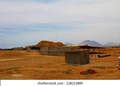 Huaca del Sol and archaeological excavations in the Moche valley in Peru