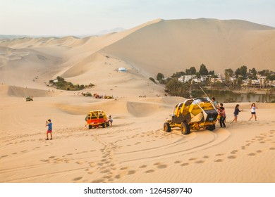 HUACACHINA, ICA PERU. The Buggies are special carts to travel the dunes of the desert. January 18, 2015, Peru