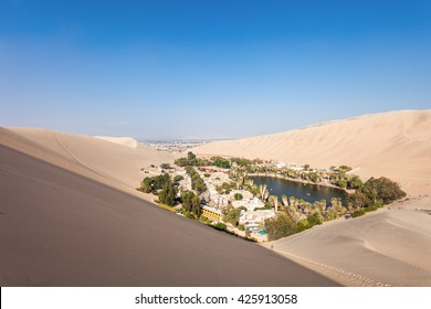 Huacachina oasis in the Ica Region, Peru
