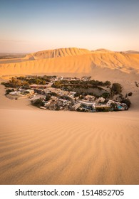 Huacachina is an Oasis next to Ica in Peru. surrounded by sand dunes