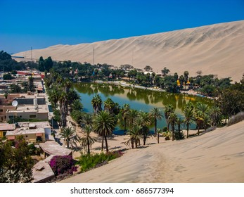 Huacachina oasis rounded by sand and dunes, Peru