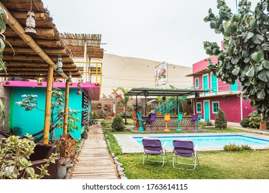 Huacachina-Ica-Peru - Aug 17 2019 - Cafeteria and pool on The Upcycled Hostel