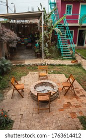 Huacachina-Ica-Peru - Aug 17 2019 - Fire pit and smoking area on The Upcycled Hostel