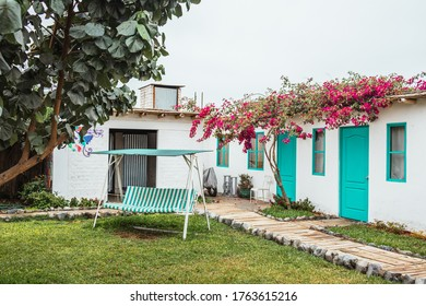 Huacachina-Ica-Peru - Aug 17 2019 - Restroom and Bedrooms on The Upcycled Hostel