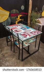 Huacachina-Ica-Peru - Aug 17 2019 - Table on the rooftop off the cafeteria on The Upcycled Hostel