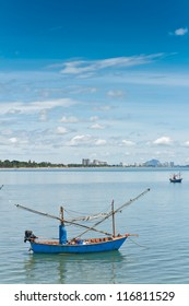 Hua-Hin beach and ship , is famous, Thailand.