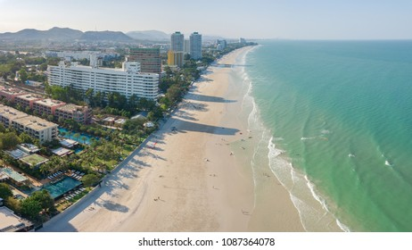 HuaHin, Thailand - April 2018: Panorama view of HuaHin beach with resorts and condominium on April 2017. This place is the favorite beach for vacation and holiday in Thailand.