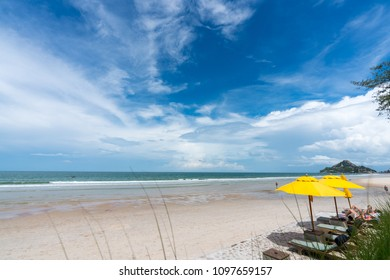 Huahin, Thailand - April 30 2018: Woman sunbathing on beach chair  beside the beach.