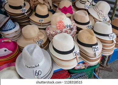 HUAHIN, Thailand - July 2, 2018 : Asian market place selling tourist souvenirs beautiful and colorful hats for tourists at huahin beach.