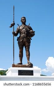 Huahin Thailand - November 15, 2015 ; King Naresuan the great statue at Ratchaphakdi Park Huahin prachuabkhirikhan Thailand