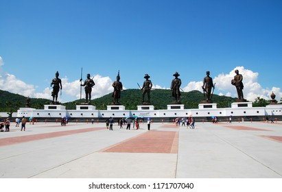 Huahin Thailand - November 15, 2015 : 7 kings statue or monument of thialand at Ratchaphakdi Park  Huahin prachuabkhirikhan Thailand