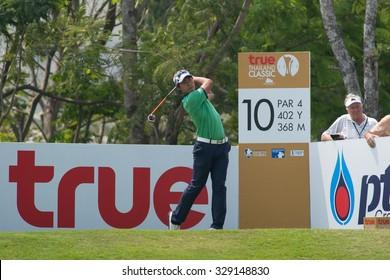 HUAHIN, THAILAND-FEBRUARY 12: Gunn Charoenkul of Thailand in action during Round 1 of 2015 True Thailand Classic on February 12, 2015 at Black Mountain Golf Club in Hua Hin, Thailand